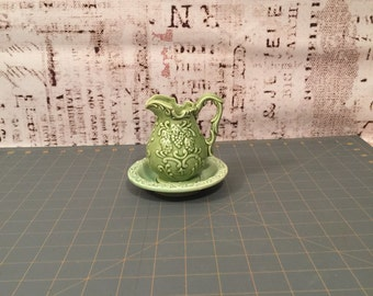 Sage green water pitcher and bowl