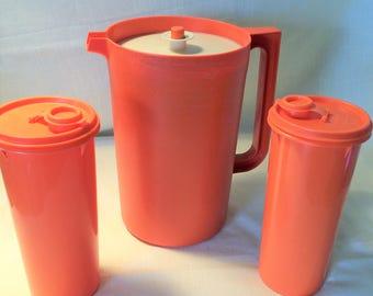 Harvest Burnt Orange Tupperware Gallon Beverage Pitcher Push Button Lid with Set of 2 Vintage Orange Slimline Pitchers, orange , tupperware