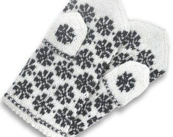 Mittens, XS size, wool, patterned double gloves, hand knit winter mitts, white, pattern dark gray