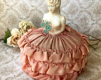 Vintage Plaster Pincushion Doll with Her Pincushion