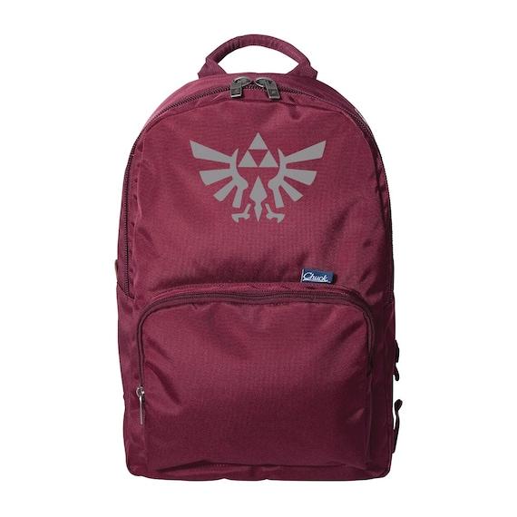 Legend of Zelda Triforce Silver and Burgundy Chucks Backpack, Link and Zelda Bag, School Backpack, Laptop Sleeve Bag, Casual Cosplay, Geek