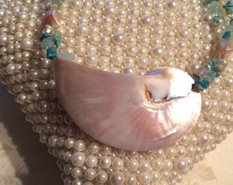 Iridised Natural Chambered Nautilus Tumbled Stone Necklace