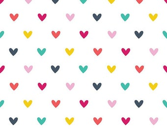 Multi-colored Hearts by Carly Griffith for Alpine Fabrics 100% cotton FLANNEL