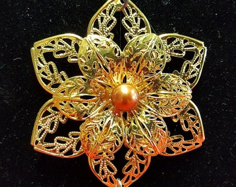 Gold Filigree Flower Pendant with Bronze Swarovski Pearl and Heart Charm
