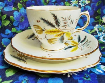 Vintage Colclough Bone China Trio - 1960's - Stardust - Pattern 6791 - Made in England - Used