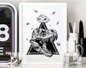 JURASSIC - Art Print - T.Rex Design Jurassic World Illustration - Dotwork Linework - Dark Art - Tattoo - Blackwork