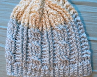 Blue and Cream Cabled Beanie