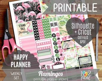 Flamingos Watercolor Weekly Printable Planner Stickers, Happy Planner Stickers, HP planner, Weekly Stickers, Mambi Stickers - Cut files