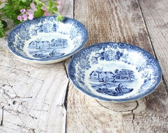 Pair of Vintage Blue and White China Bowls, 1790 Avon Scenes Pattern Blue and White China