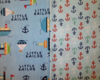 Fleece Tie Blanket-Little Sailor and Anchors, small, baby