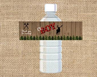 Lumberjack Boy Baby Shower Water Bottle Label