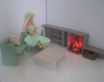 TO order - furniture living room wooden painted and varnished for Barbie doll