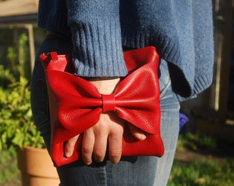 Red leather pouch