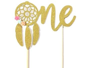 1 pc ONE flowers dreamcatcher cake topper bohemian native boho tribal Theme Gold Glitter for first Birthday baby boy girl
