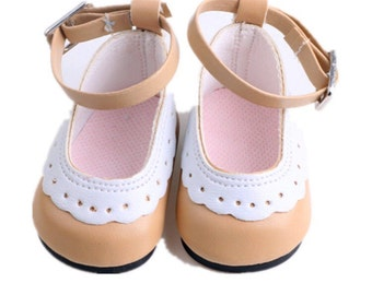 "18"" Inch Doll Size Shoes ~ Beige, Tan and White Saddle Shoes - Mary Janes ~ American Girl Clothing"