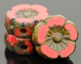 Czech Glass Flower Beads - Pansy Beads - Hawaiian Beads - Hibiscus Beads - Coral Red Opaque with Picasso Finish - 9mm - 6 or 12 beads