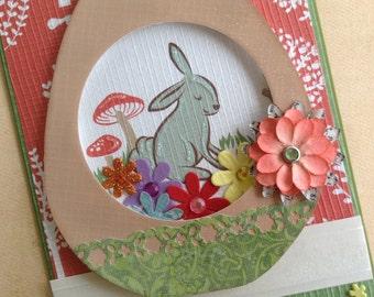Easter Card, Woodland Easter Keepsake Card, Easter Egg Diorama Card, Panoramic Sugar Egg Card, Unique Dimensional Pop Up