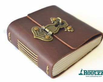 Leather with watercolor paper and vintage lock - journal - art journal - notebook