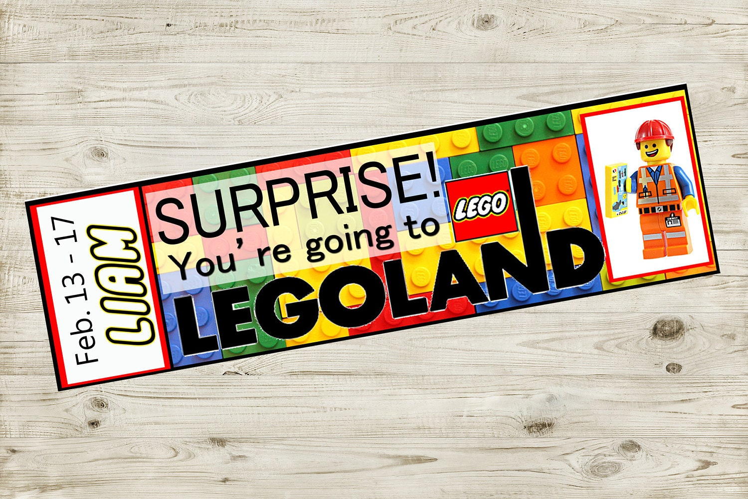 Printable Ticket to LEGOLAND with Custom Name reveal