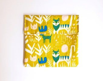Food-safe fabric snack pouch - Reusable snack bag - No waste snack pouch - Animal print