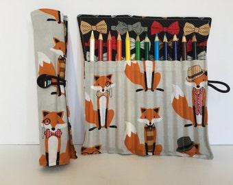 Colored Pencil Holder - Crayola Colored Pencils - Fox Fabric - Coloring Supplies - Planner Supplies - Adult Coloring - Bullet Journaling