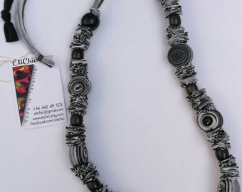 Candy necklace handmade grey & black