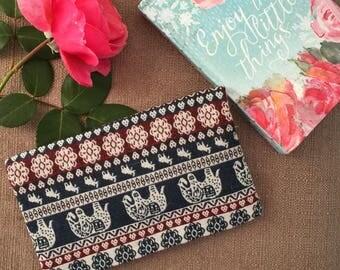 Tribal Elephant Wallet/ Brocade Bag/ Threaded Bag/ Checkbook Cover