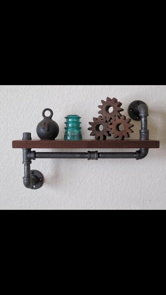 Rustic Industrial Pipe Bracket and Wood Shelves | Vintage Raw Steel Black