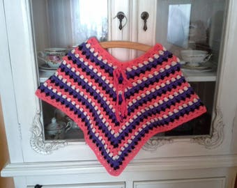 For kids, girls, colorful crocheted poncho