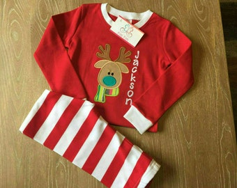 Personalized Reindeer Christmas Pajamas - Christmas Pajamas for Children -  Christmas PJs - Boys Christmas PJs