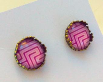 Purple, geometric earrings, purple earrings, purple stud earrings, studs earrings, purple cabochon earrings, studs, studs earrings, stud  #1