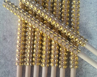 "13- 5 1/2"" Rhinestone bling Gold diamond mesh candy apple sticks, cake pop, cake and candy supplies, skewers, bling sticks, candy apples"