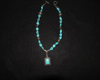 Turquoise beads and Bali Silver necklace