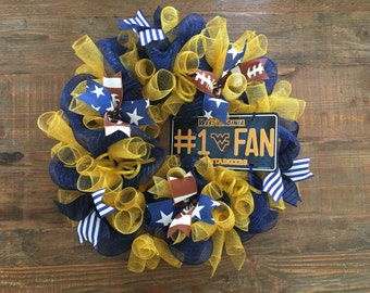West Virginia University Football Wreath, WVU Wreath, WVU Football, Mountanieer Wreath, WVU Mountaineers,