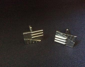 Vintage 1980s Rectangular Silver Cufflinks