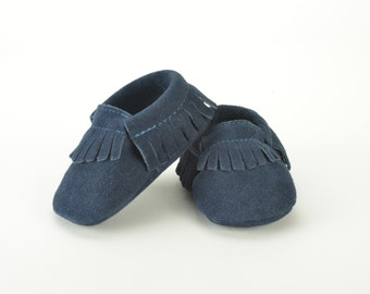 Navy blue suede leather baby moccasins 3-6 months 6-12, 12-18 months 18-24 months baby shoes velvet night