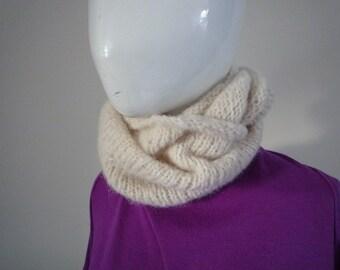 Hand knit cream alpaca and silk lace cowl