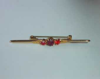 Ruby and Pink Rhinestone Pin / Brooch