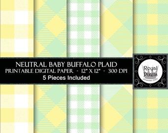 5 Neutral Baby Buffalo Plaid - Yellow & Green - Gender Neutral - Baby Shower Digital Paper #18