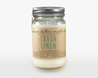 Fresh Linen Candle - 16oz - Gift for Mom, Handmade Candle, Linen Candle, Mason Jar Candle, Hand poured Soy Candle, Scented Candles, Soy wax