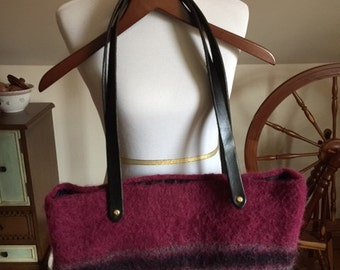 Hand-knit Felted Bag w/ Leather Straps
