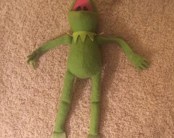 "1976 The Muppets 16"" Kermit the Frog Stuffed Doll"