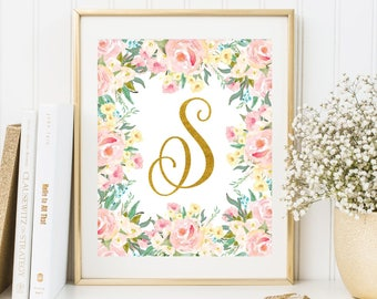 Girl Monogram S Letter Gold Initial Letter Print Personalized Initial Printable Letter Nursery Floral Wall Art Pastel Watercolor Flowers Art