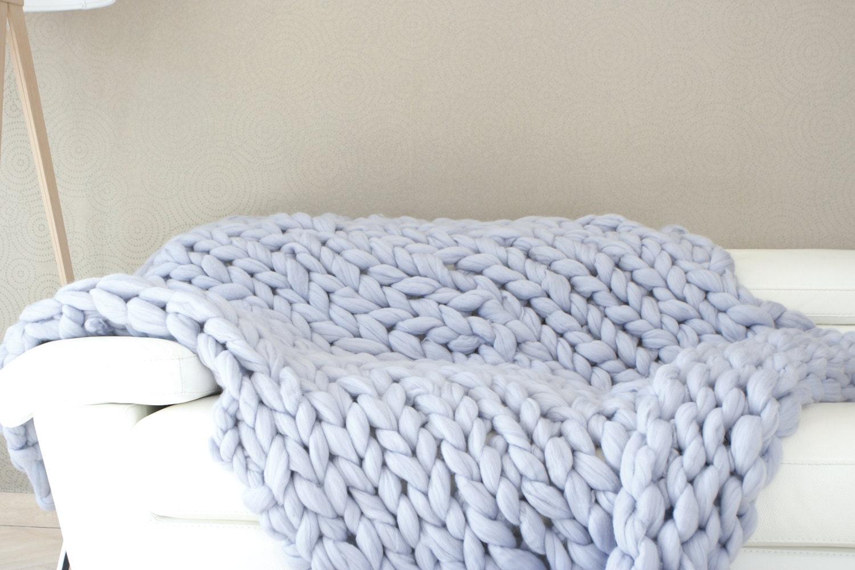 plaid laine g ante jet de lit couverture chunky tricot. Black Bedroom Furniture Sets. Home Design Ideas