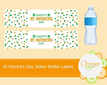 Happy St Patrick's Day Water Bottle Labels, St Patrick's Day Water Bottle Wraps, Waterproof Labels, St Pattys Day Party Decor