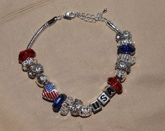 "European style bead bracelet ""America"""