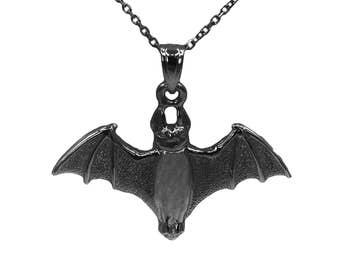 925 Black Sterling Silver Bat Necklace