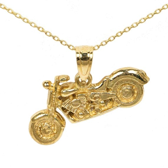 10k yellow gold motorcycle necklace