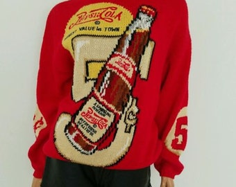 RARE VINTAGE embroidered red Pepsi Sweater