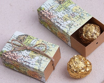 Rustic World Map Travel Shabby Chic Wedding Favour Boxes With Tags, Wedding Favors, Thank You,